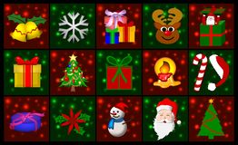 Christmas background. Squares with various Christmas images for a holiday background Royalty Free Stock Images