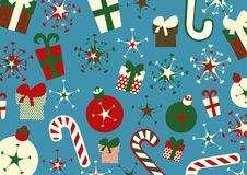 Christmas background. Vector illustration of christmas background. Includes present boxes, candies, flakes and christmas balls vector illustration