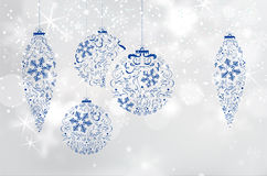 Christmas background with abstract blue curly christmas balls Stock Photo