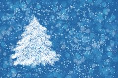 Christmas background. Abstract Christmas tree on blue background. Copy space, bokeh texture Stock Images