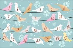 Advent calendar with birds on snow Royalty Free Stock Photography