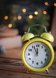 Christmas background with alarm clock stock photos