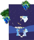 Christmas background with an angel, royalty free illustration