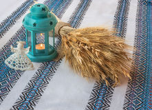 Christmas background with angel lantern and Didukh (diduch) Royalty Free Stock Photography