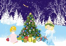 Christmas background with angels and Christmas tree, Stock Images