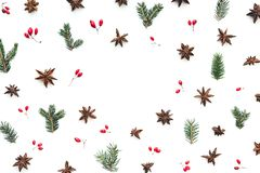 Christmas Background With Anise And Red Berries stock photography