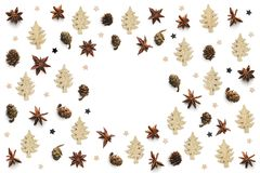 Christmas Background With Anise Stars, Cones And Gold Wooden Tre stock images