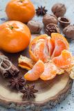Christmas background. Aromatic winter spices, walnuts and mandarins laying on wooden log, vertical Royalty Free Stock Photo