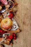Christmas background of baked apples and spices Stock Images