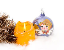 Christmas background with ball decoration Royalty Free Stock Photo