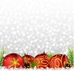 Christmas background with ball and fir on the snow Royalty Free Stock Images