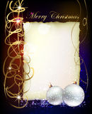 Christmas background with ball and paper with spac Stock Photos