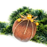 Christmas background with a ball and a pine tinsel Stock Photography