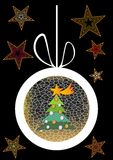 Christmas background with ball, tree and stars Royalty Free Stock Images