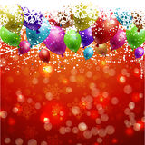 Christmas background with balloons. And confetti Royalty Free Stock Photo