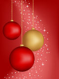 Christmas background with balls. Christmas red background with hanging balls. Have used gradient mesh Stock Images