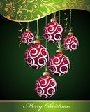 Christmas background with balls. Ball christmas winter floral holiday background Stock Illustration