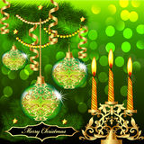 Of christmas background with balls Stock Photo