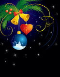 Christmas background with balls. Handbells and bow stock illustration