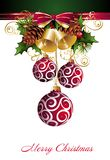 Christmas background with balls and bells. Ball bell pinecone floral holly background christmas tree star royalty free illustration