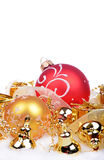 Christmas background with balls and bells Stock Photography