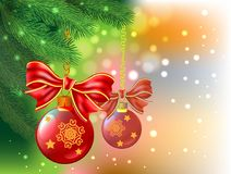 Christmas background with balls, bow  and fir tree. Christmas background with balls, bow and fir tree on color Royalty Free Stock Photography