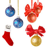 Christmas background with balls and bows over white  collage Royalty Free Stock Photo