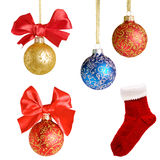 Christmas background with balls and bows over white  collage Stock Image