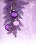 Christmas background with balls and branches. Vect Royalty Free Stock Photography