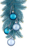 Christmas background with balls and branches. Vector illustration Stock Images