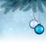 Christmas background with balls and branches. Royalty Free Stock Photography