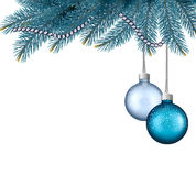 Christmas background with balls and branches. Stock Image