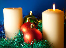 Christmas background balls and candle Stock Images