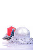Christmas background with balls and candle Stock Photography