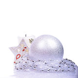 Christmas background with balls and candle Royalty Free Stock Photo