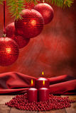 Christmas background - balls and candles Royalty Free Stock Image