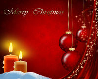 Christmas background with balls and candles. Christmas red background with balls and candles Royalty Free Stock Photo