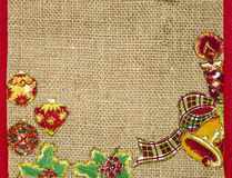 Christmas background with balls and decorations over fabric . Stock Image