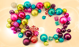 Christmas background with balls and decorations Stock Images