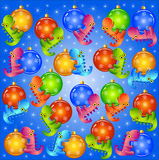 Christmas background  with balls and dragons Stock Images