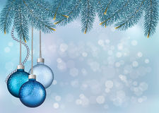 Christmas background with balls and fir branches Royalty Free Stock Images