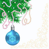 Christmas background with balls and fir branches Stock Image