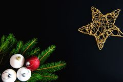 Christmas background with balls, fir tree branches Royalty Free Stock Photography