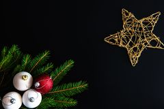 Christmas background with balls, fir tree branches Stock Photo