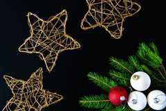 Christmas background with balls, fir tree branches Stock Images