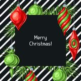 Christmas background with balls. Holiday vintage decorations for tree. Greeting celebration card Stock Illustration