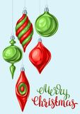 Christmas background with balls. Holiday vintage decorations for tree. Greeting celebration card Vector Illustration