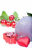 Christmas background with balls, holly leaves Stock Photography