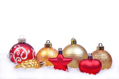 Christmas background with balls isolated Stock Photos