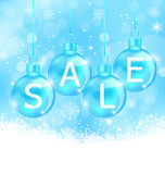 Christmas background with balls lettering sale Royalty Free Stock Photos